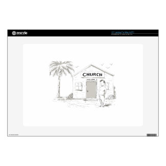 Samoan Boy Stand By Church Cartoon Laptop Decal