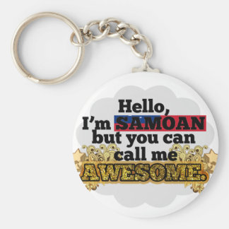 Samoan, but call me Awesome Basic Round Button Keychain