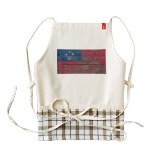 Samoan Flag on Rough Wood Boards Effect Zazzle HEART Apron