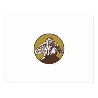 Samoan God Tagaloa Arms Out Circle Woodcut Postcard