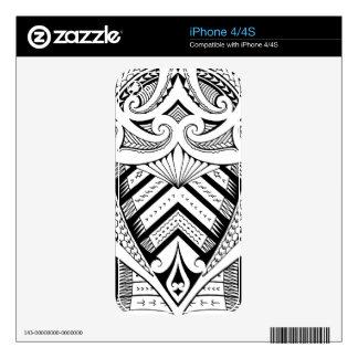 Samoan sleeve tattoo with Maori style koru iPhone 4 Skin
