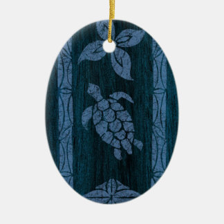 Samoan Tapa Hawaiian Faux Wood Surfboard Double-Sided Oval Ceramic Christmas Ornament