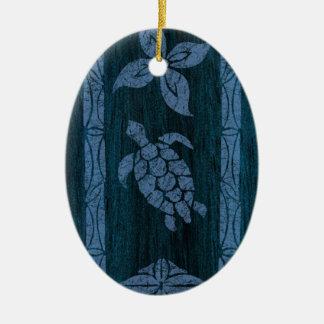 Samoan Tapa Hawaiian Faux Wood Surfboard Ornament