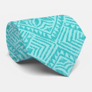 Samoan Tapa Tropical Aqua Two-sided Printed Tie