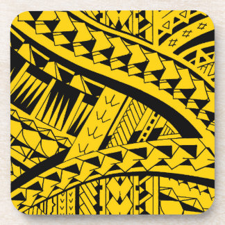 Samoan tribal tattoo pattern with spearheads art beverage coaster