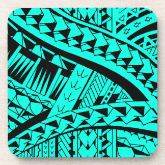 Samoan tribal tattoo pattern with spearheads art coaster