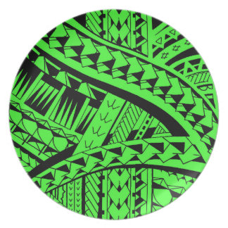 Samoan tribal tattoo pattern with spearheads art dinner plate