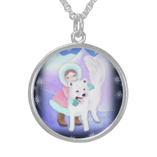 Samojed dog  and girl in arctic landscape sterling silver necklace