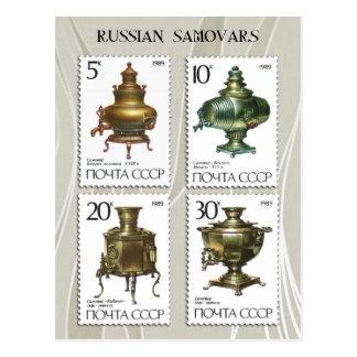 Samovares rusos antiguos en sellos tarjeta postal