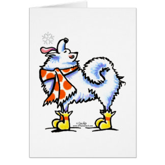 Samoyed American Eskimo Dog Snowflake Card