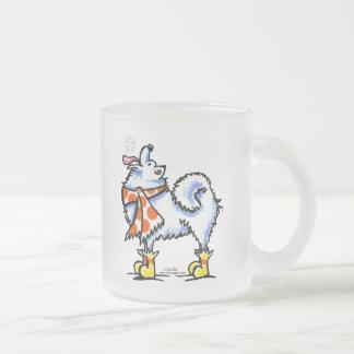 Samoyed American Eskimo Dog Snowflake Frosted Glass Coffee Mug