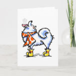 """Samoyed American Eskimo Dog Snowflake Holiday Card<br><div class=""""desc"""">Original drawing by Off-Leash Art of a cute Samoyed/Eskie catching a snowflake on his tongue. He wears a colorful sweater scarf and boots,  making a warm holiday scene. Great decor or gift idea.  Click the orange """"customize it!"""" button to change the background color,  or to add text or photos.</div>"""