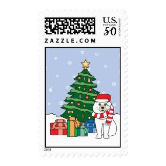 Samoyed and Christmas Tree Postage