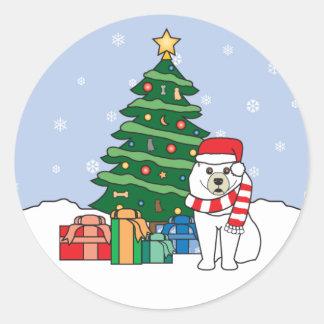 Samoyed and Christmas Tree Round Stickers