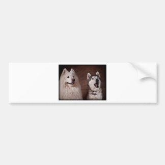 Samoyed and Husky Pegatina De Parachoque