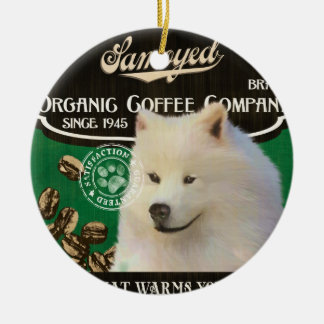 Samoyed Brand – Organic Coffee Company Double-Sided Ceramic Round Christmas Ornament