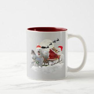 Samoyed Christmas Fun Two-Tone Coffee Mug