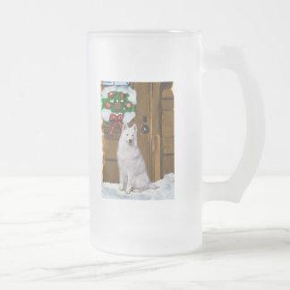Samoyed Christmas Gifts Frosted Glass Beer Mug