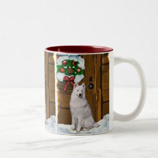 Samoyed Christmas Gifts Two-Tone Coffee Mug