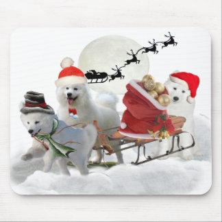 Samoyed Christmas Puppy Mousepads