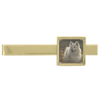 Samoyed Dog Gold Finish Tie Bar