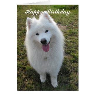Samoyed dog happy birthday custom greeting card