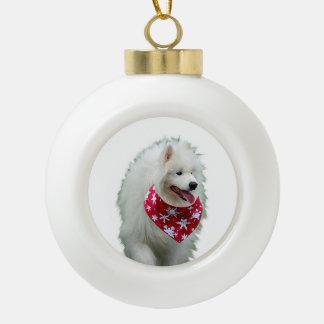 Samoyed Dog with Bandana Round Christmas Ornament