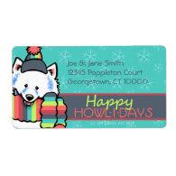 Samoyed Eskie Happy Howlidays Personalized Shipping Label