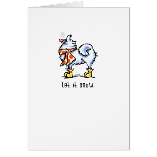 Samoyed Eskie Scarf Let it Snow Christmas Greeting Card