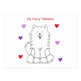 Samoyed Furry Valentine Postcard