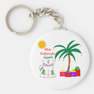 Samoyed Hawaiian Christmas Keychain