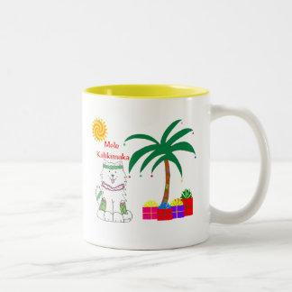 Samoyed Hawaiian Christmas Two-Tone Coffee Mug