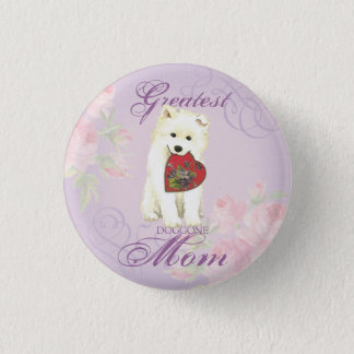 Samoyed Heart Mom Button