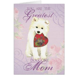 Samoyed Heart Mom Card