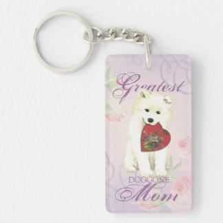 Samoyed Heart Mom Keychain