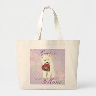 Samoyed Heart Mom Large Tote Bag