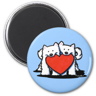 Samoyed Heartfelt Duo 2 Inch Round Magnet