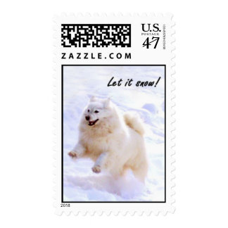 Samoyed jumping postage