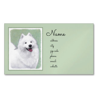 Samoyed Painting - Cute Original Dog Art Business Card Magnet