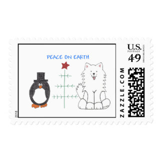 Samoyed Peace On Earth Postage