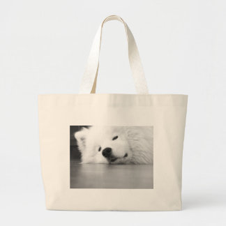 Samoyed Photo Dog White Large Tote Bag