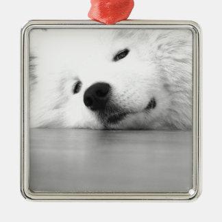 Samoyed Photo Dog White Metal Ornament