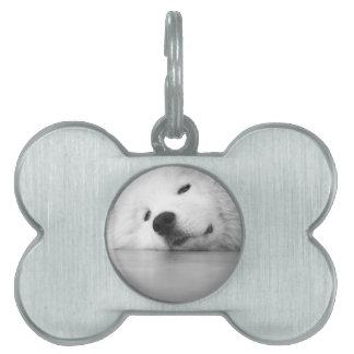 Samoyed Photo Dog White Pet Name Tag