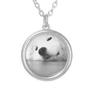 Samoyed Photo Dog White Silver Plated Necklace