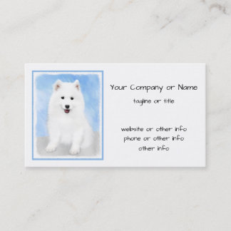 Samoyed Puppy Painting - Cute Original Dog Art Business Card