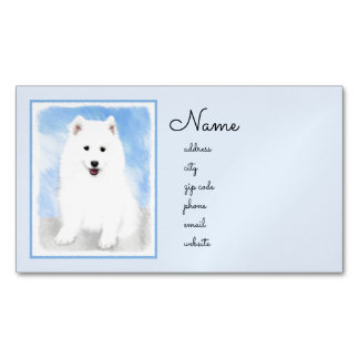 Samoyed Puppy Painting - Cute Original Dog Art Business Card Magnet