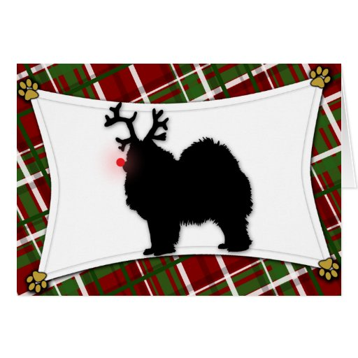 Samoyed Reindeer Christmas Card