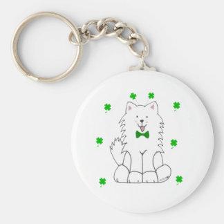 Samoyed Saint Patricks Day Keychain