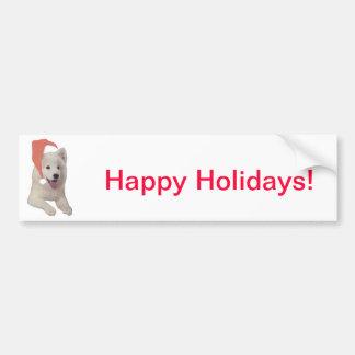 Samoyed Santa Hat Bumper Sticker