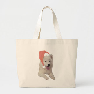 Samoyed Santa Hat Large Tote Bag